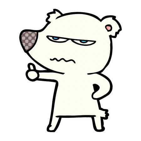 Angry bear polar cartoon giving thumbs up