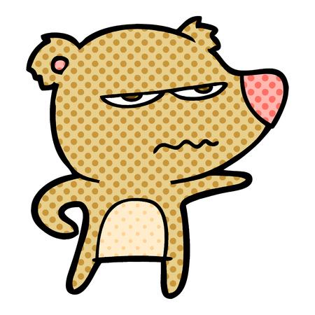Annoyed bear cartoon isolated on white background