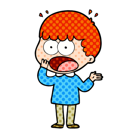 Cartoon shocked man gasping 向量圖像