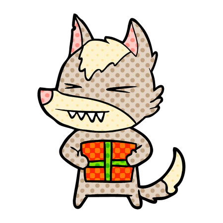 Angry Christmas wolf cartoon isolated on white background Illustration