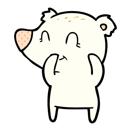 Giggling polar bear cartoon illustration on white background.