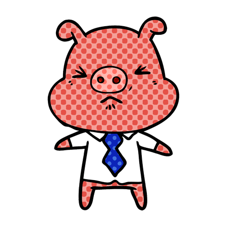 Cartoon angry pig in shirt and tie