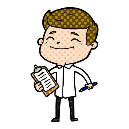 Happy cartoon man taking survey isolated on white background