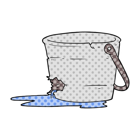 Broken bucket cartoon illustration on white background.