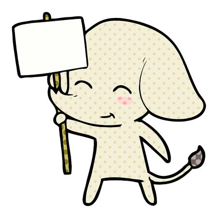 Cute cartoon elephant with placard