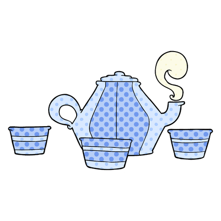 Cartoon teapot and cups isolated on white background