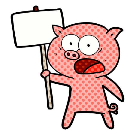Cartoon pig protesting