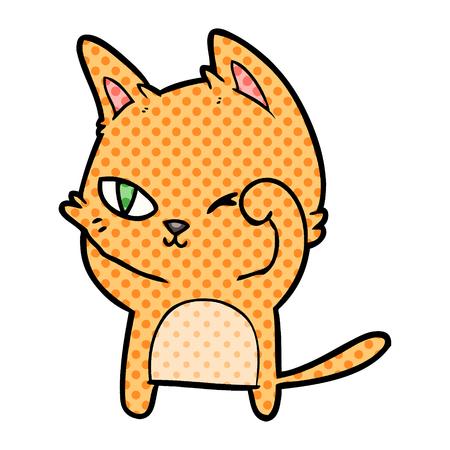 Isolated on white background cartoon cat rubbing eye Illustration