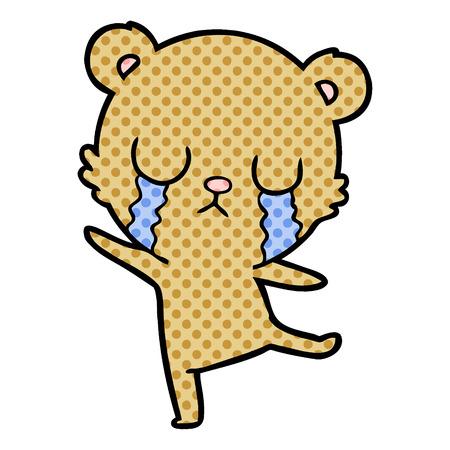 Isolated on white background crying cartoon bear doing a sad dance