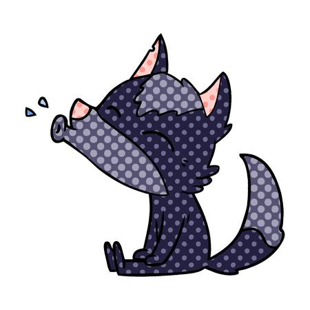 Howling wolf cartoon illustration on white background.