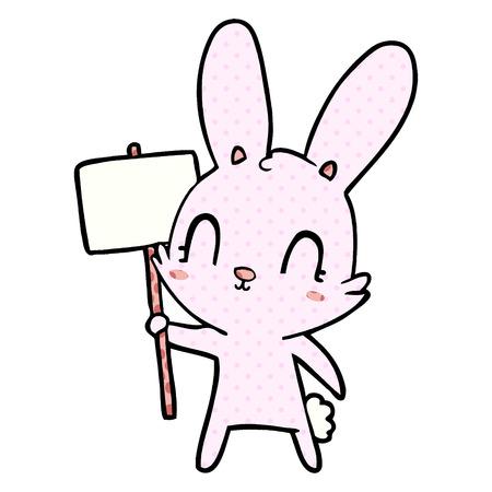 Cute cartoon rabbit with sign