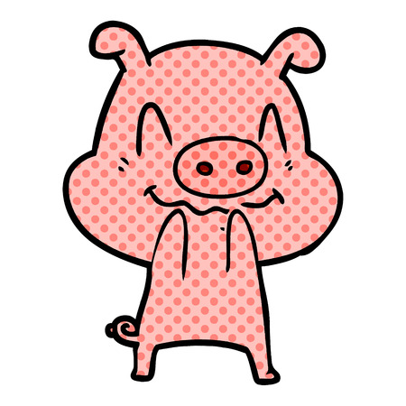Nervous 1cartoon pig Illusztráció