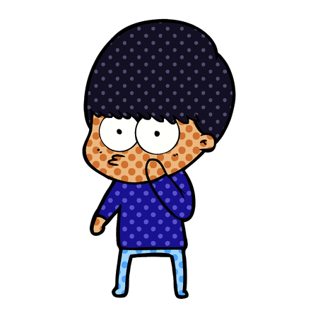 Curious cartoon boy Stock Vector - 95659863