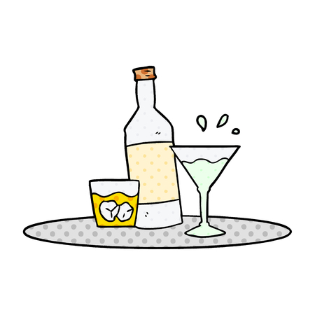 Isolated on white background cartoon drinks on tray Reklamní fotografie - 95678547