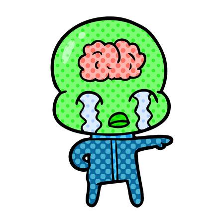 白い背景に孤立し、漫画の大きな脳エイリアンは泣いています  イラスト・ベクター素材