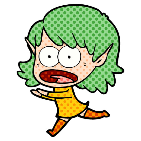 Isolated on white background, cartoon shocked elf girl Illusztráció