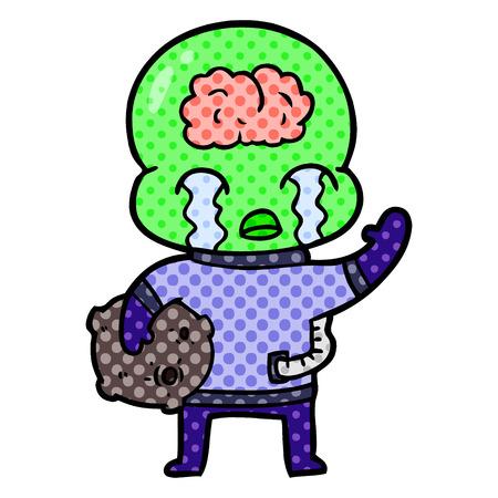 Cartoon big brain alien crying and waving goodbye Stock Illustratie