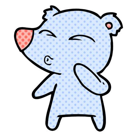 Isolated on white background, cartoon whistling bear