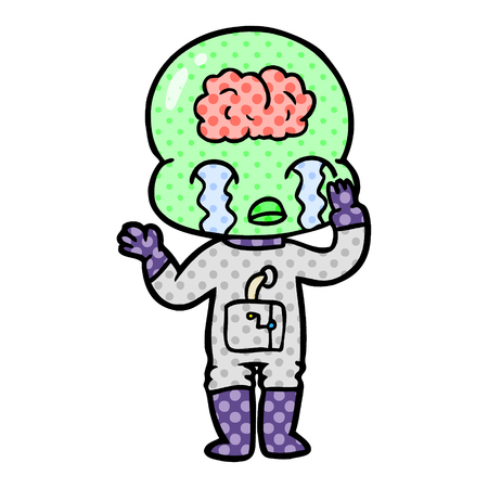 Isolated on white background, cartoon big brain alien crying