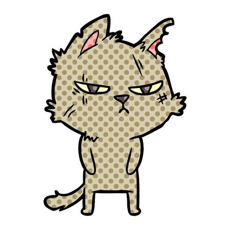 Tough cartoon cat illustration on white background.