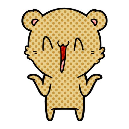 Happy bear cartoon illustration on white background. 스톡 콘텐츠 - 95578515