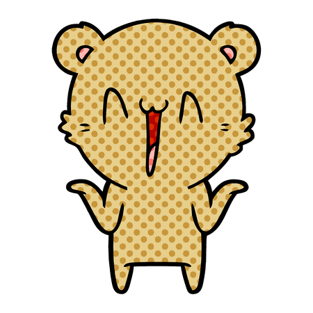 Happy bear cartoon illustration on white background. Illustration