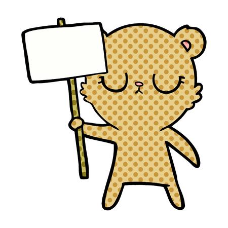 peaceful cartoon bear cub with protest sign 向量圖像
