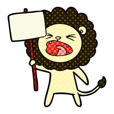 Cartoon lion with protest sign illustration on white background. Illustration