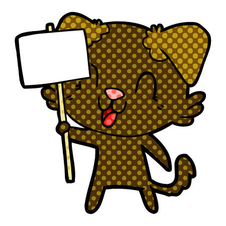 laughing cartoon dog with sign