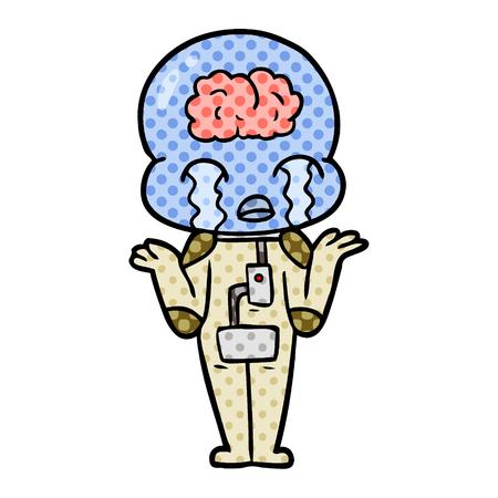 漫画の大きな脳エイリアンは、白い背景にイラストを泣かします。