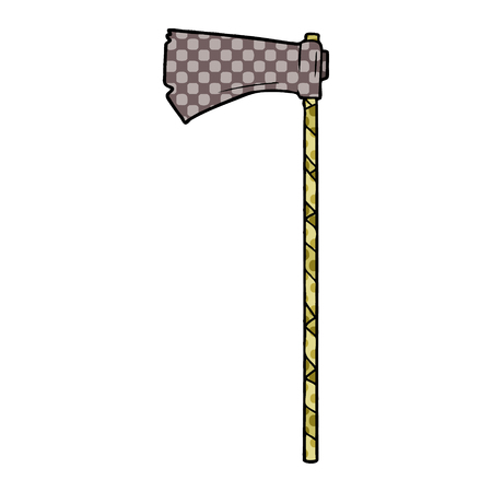 Isolated on white background, cartoon medieval war axe