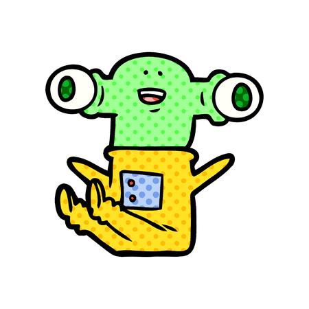 friendly cartoon alien sitting down