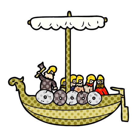 cartoon vikings sailing
