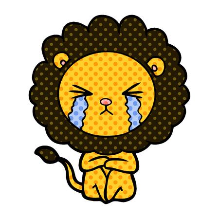 cartoon crying lion sitting huddled up Illustration