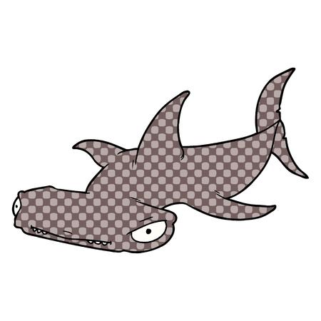 Cartoon hammerhead shark illustration on white background. Illustration