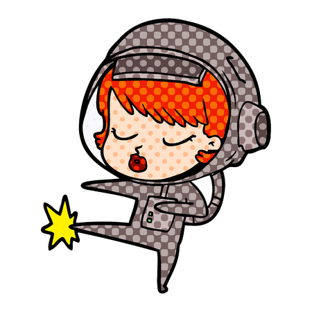 cartoon pretty astronaut girl karate kicking Çizim