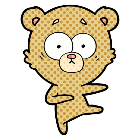 Isolated vector on white background, nervous dancing bear cartoon Illustration