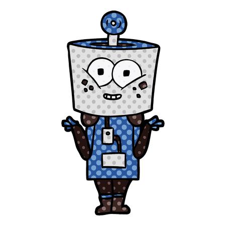 Robot de dessin animé heureux, haussant les épaules illustration sur fond blanc. Banque d'images - 95578396