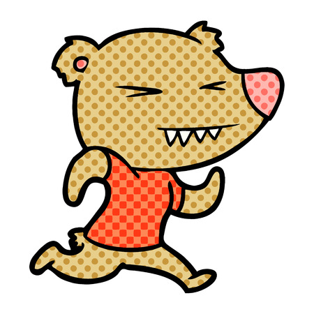angry bear cartoon running Illustration