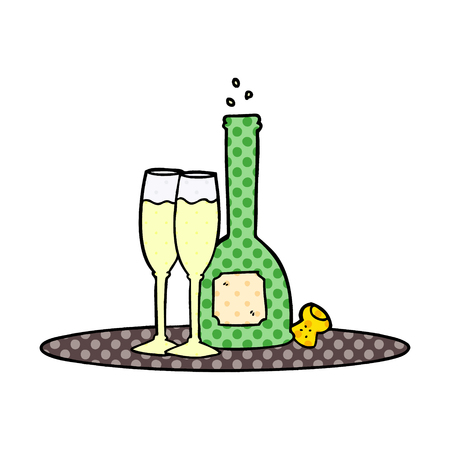 Cartoon champagne on tray