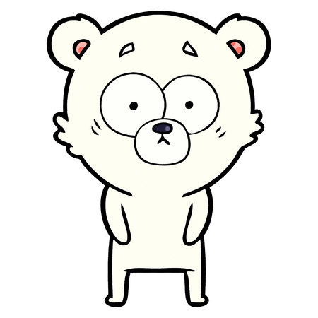 Isolated vector on white background, surprised polar bear cartoon