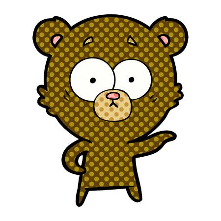 Isolated vector on white background, anxious bear cartoon