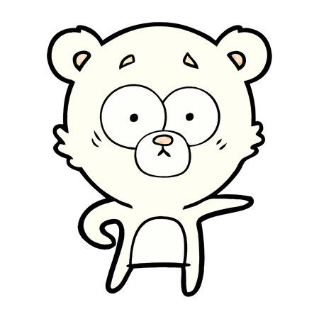 Isolated vector on white background, surprised polar bear cartoon