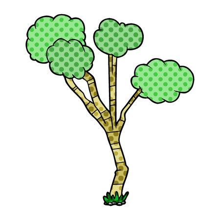 Cartoon sparse tree illustration on white background. Ilustração