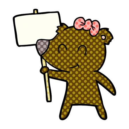 A female bear cartoon isolated on white background. Archivio Fotografico - 95604251