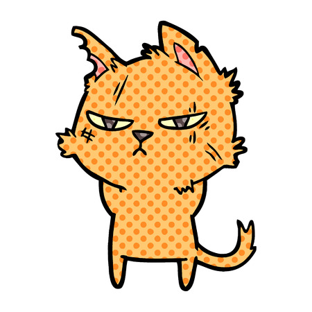 tough cartoon cat Vector illustration.