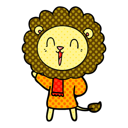 A laughing lion cartoon in winter clothes  isolated on white background.