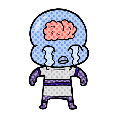 A cartoon big brain alien crying isolated on white background.