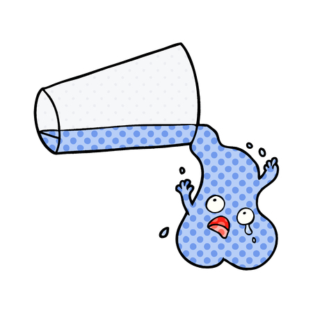 A pouring water cartoon isolated on white background.  イラスト・ベクター素材