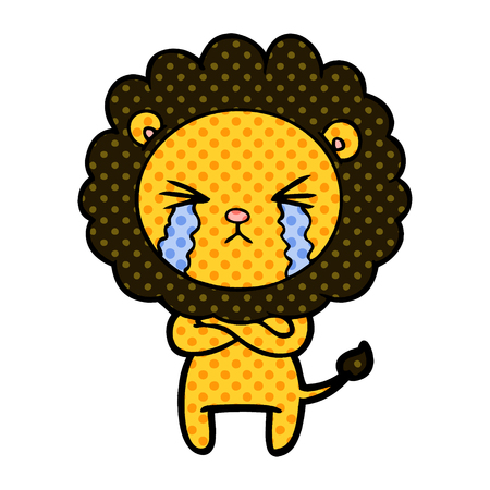 A cartoon crying lion with crossed arms isolated on white background. Stock Illustratie
